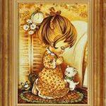 Янтарная картина Девочка с котёнком