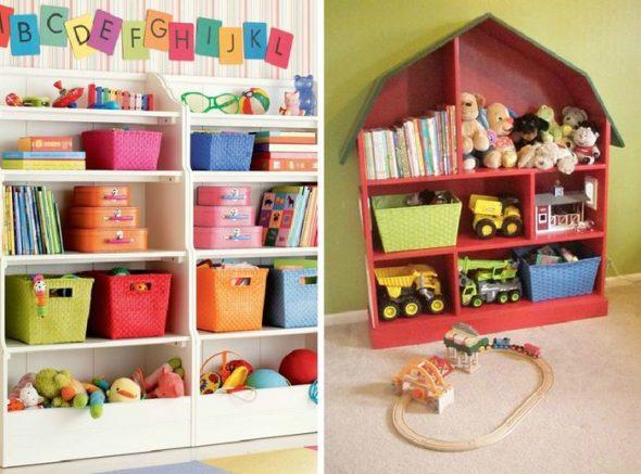 Красочные и оригинальные системы хранения для детской