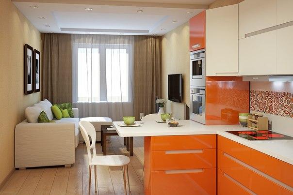 Кухня-гостиная дизайн 16 кв.м с диваном