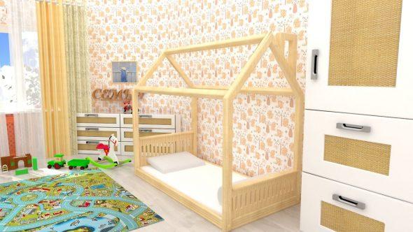 детская кровать домик монтессори 160 80
