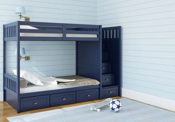 синяя двухъярусная кровать