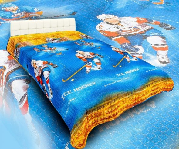 детское покрывало на кровать Хоккей