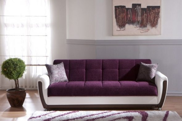 диван аккордеон бело фиолетовый