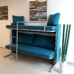 диван кровать двухъярусная трансформер бирюзового цвета