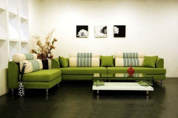 диван зеленый гостиная