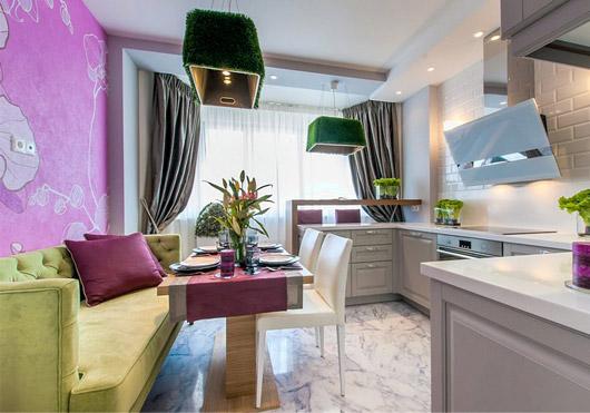 Квадратная кухня 11 кв м дизайн с диваном