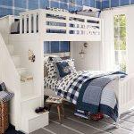 двухъярусная кровать бело синяя