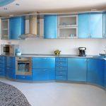 кухня голубой гарнитур