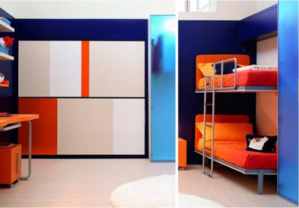 горизонтальная детская двухъярусная шкаф-кровать