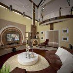 коричневый диван модерн
