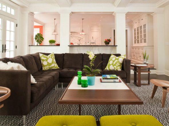 коричневый диван в зале идеи