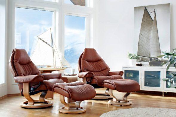 кресло для отдыха с подставкой для ног