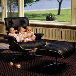 кресло с подставкой для ног черное