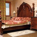двуспальная кровать красное дерево