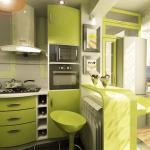 кухня зеленый гарнитур