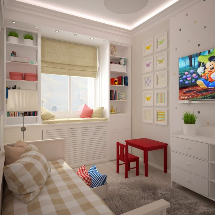 Дизайн детской комнаты для двух девочек 17 кв.м