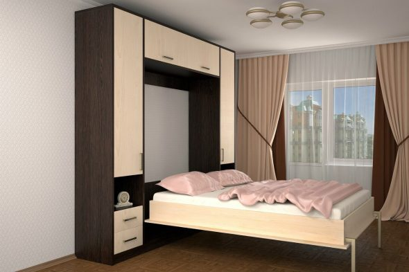 подъемная кровать в спальне