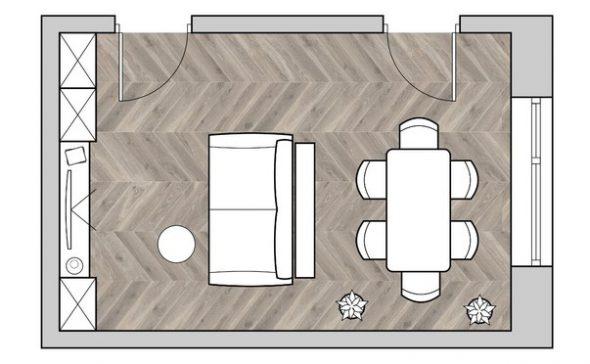 пример планировки маленькой гостиной с обеденным столом