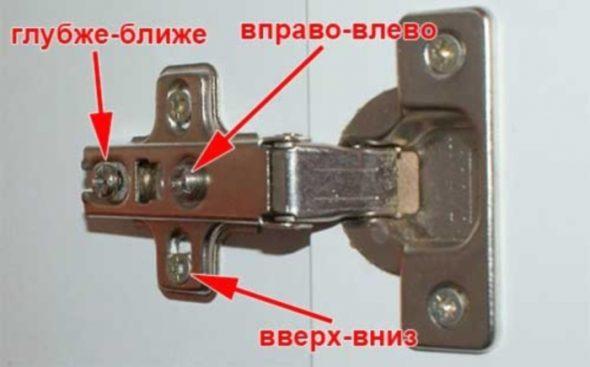 регулировка мебельных петель