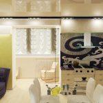 стильный дизайн кухни с диваном