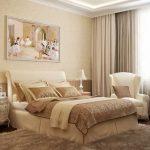 светлая спальня с картиной