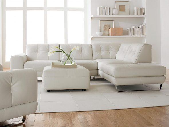 Белый диван, как предмет мебели для гостиной