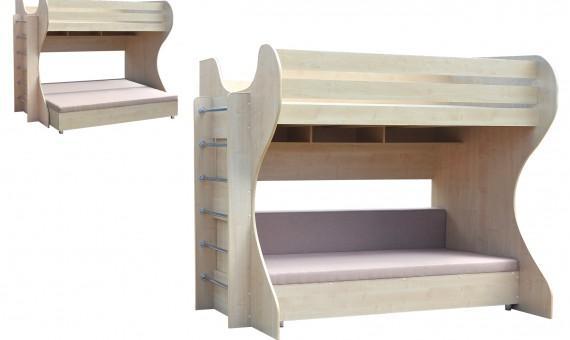 Детская двухъярусная кровать с диваном фото