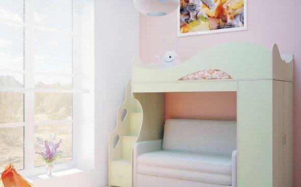 Детская кровать-чердак с диваном Divanno