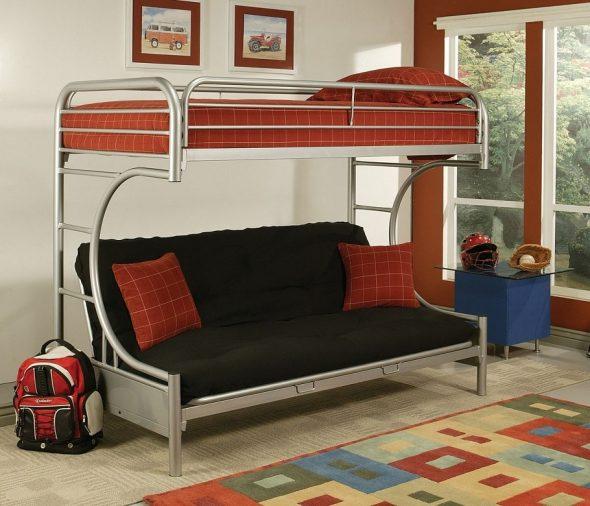 Двухъярусная кровать с диваном металлическая