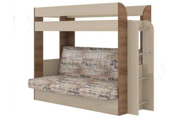 Двухъярусная кровать с диваном светлого цвета