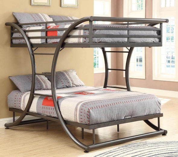 Двухъярусная металлическая кровать для взрослых в стиле модерн