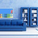 Французский интерьер гостиной с синим оттенком