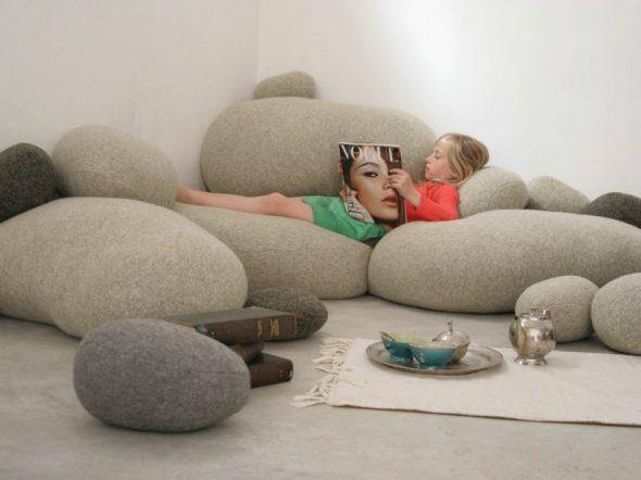 кресла мешки в виде камней