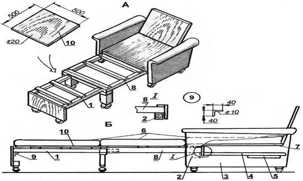 кресло кровать чертеж