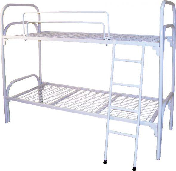 Кровать двухъярусная металлическая К04 (с ограждением и лестницей)
