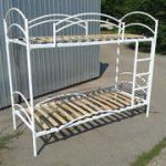 Кровать металлическая двухъярусная с деревянными ламелями Эрго