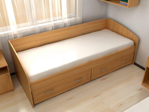 Кровать односпальная 80 см, с 2 ящиками