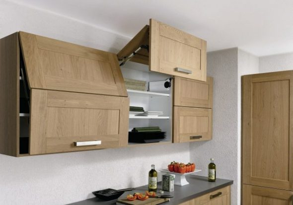 Кухонные шкафы с подъемным механизмом и доводчиком