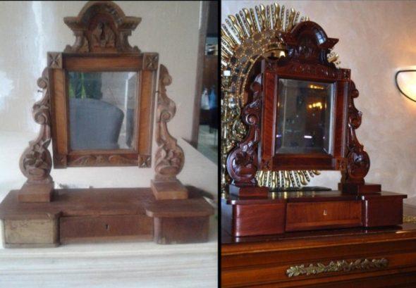 Реставрация зеркала, до и после