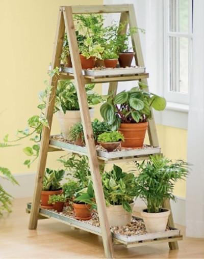 Стеллаж для растений в гостиной