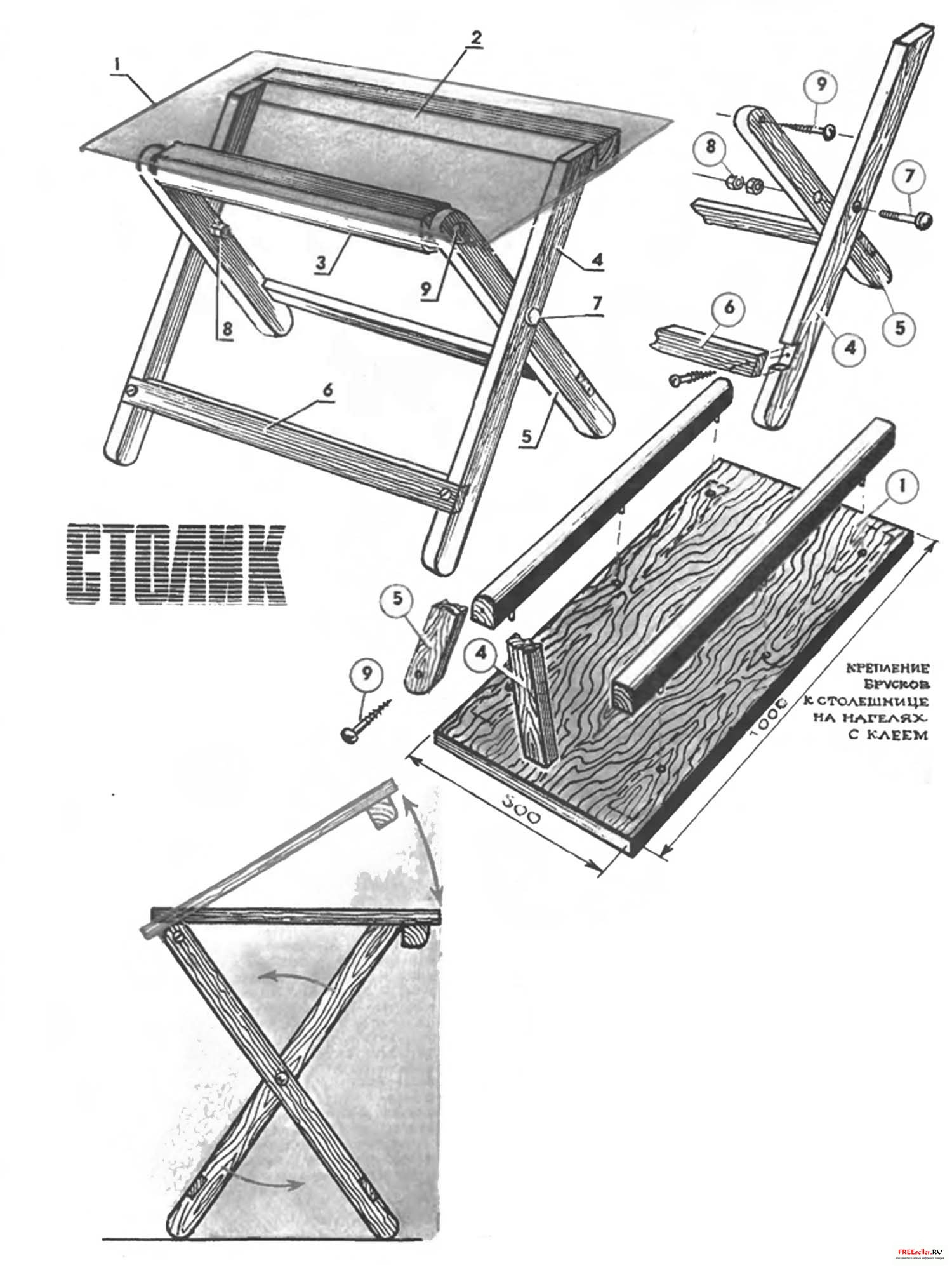 Как сделать складной столик для пикника чертеж