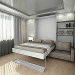 Встроенная Кровать в интерьере светлой комнаты