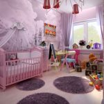 Зона для игр, обучения и сна в детской для девочек