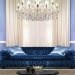 бархатной синий диван