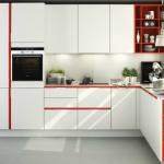 угловая кухня бело красная