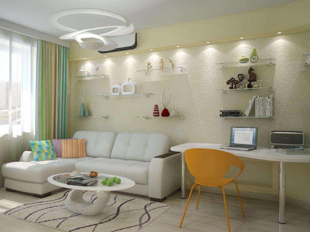 Интерьер гостиной с угловым диваном и телевизором фото