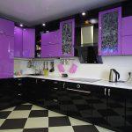 фиолетово черные кухонные шкафы