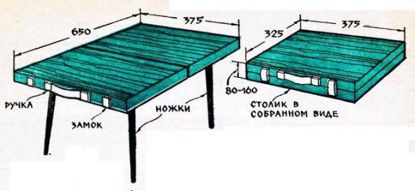 чертеж столика