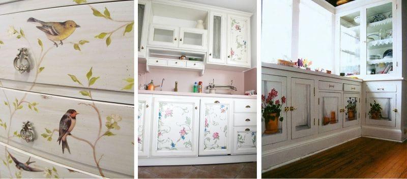 Декорирование старых кухонных шкафов