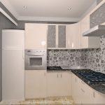 угловая кухня кремовая